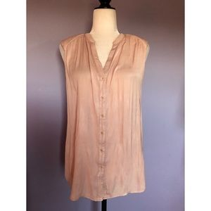 Trouvé pink silky button up sleeveless blouse